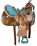 Y&Z Enterprises - Silla de montar de piel para caballos de carreras de caballos de competición, disponible en piel a juego, cuello de pecho, riendas de 17.5