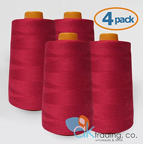 AK Trading 4-Pack Red All Purpose Sewing Thread Cones (6000 Yards Each) of High Tensile Polyester Thread Spools for Sewing, Serger Machines, Quilting, Overlock, Merrow and Hand Embroidery