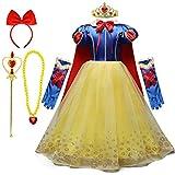 REXREII Niñas Blancanieves Disfraz con Capa Accesorios Carnaval Traje de Princesa Cumpleaños Halloween Cosplay Navidad Fiesta Ceremonia Aniversario Comunión Boda Vestidos 4-5 años