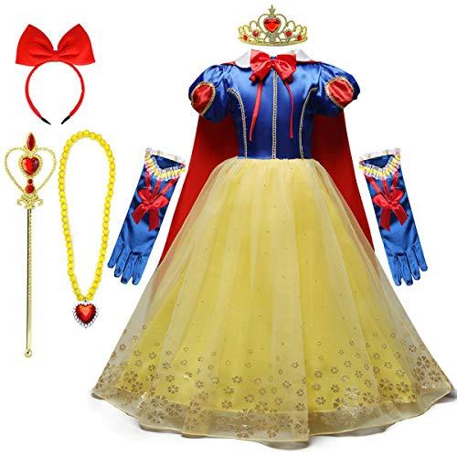 REXREII Niñas Blancanieves Disfraz con Capa Accesorios Carnaval Traje de Princesa Cumpleaños Halloween Cosplay Navidad Fiesta Ceremonia Aniversario Comunión Boda Vestidos 6-7 años