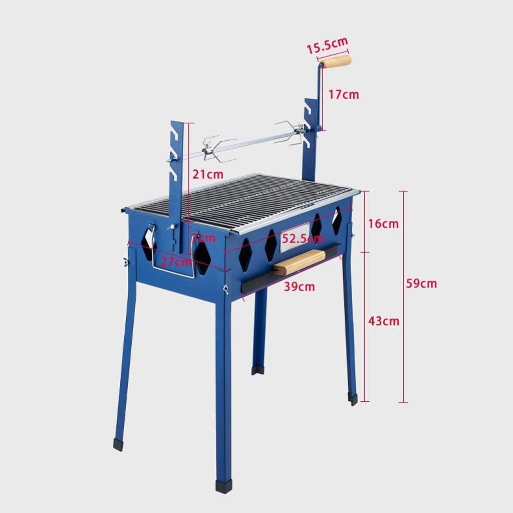 Barbecue, extérieur Barbecue au charbon multifonctionnel rotatif Four (adapté à plus de 5 personnes), 52.5x27x59cm @ (Couleur: Bleu) (Couleur: Bleu) HAOSHUAI (Color : Blue) Blue