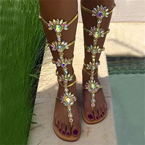 Zller2587 Sandalias De Gladiador hasta La Rodilla para Mujer, Zapatos Planos De Playa con Tiras, Botas Planas De Cristal para Vestido De Noche, Fiesta, DíA Festivo, Zapatos 39 Gold