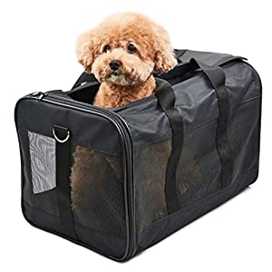 ScratchMe Pet Travel Carrier Soft Sided Portable Bag for Cats and Small Dogs, Collapsible, Durable, Airline Approved, Travel Friendly, Carry Your Pet with Safely and Comfortably, Black