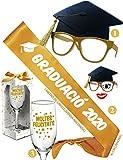 Inedit Festa Graduación 2020 Banda Graduació Banda Honorífica Feliç Graduació Gafas Birrete Graduación y Copa Cava Moltes Felicitats (Català)