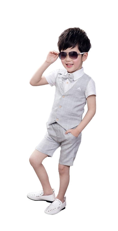 HIMOE 男の子 スーツ フォーマルスーツ 半袖 チェック柄 3セット 蝶結び付き 子供スーツ 3色選択可 (90サイズ(身長:90-100cm), グレー)