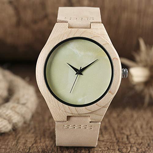 KUELXV Reloj de Pulsera de Madera Reloj de Madera con Esfera Verde Claro sin Palabras Que blanquea el Reloj de Novedad de Cuero Genuino analógico Minimalista de bambú en línea