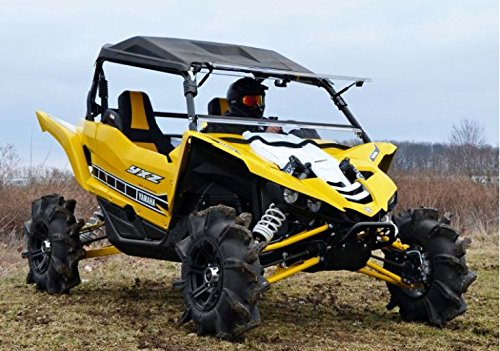 SuperATV Heavy Duty Scratch Resistant 3-IN-1 Flip Windshield for Yamaha YXZ (2016-2018) - Hard Coated for Extreme Durability and Long Life - Easy to Install!