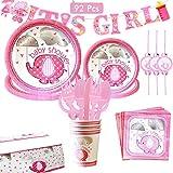 Amycute 92 piezas Baby Shower Chicas Kit, It's A Girl Pancarta Platos de papel, Mantel, Vasos, Servilletas, Vajilla para Baby Shower Chicas
