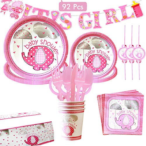 Amycute 92 piezas Baby Shower Chicas Kit, It's A Girl Pancarta Platos...
