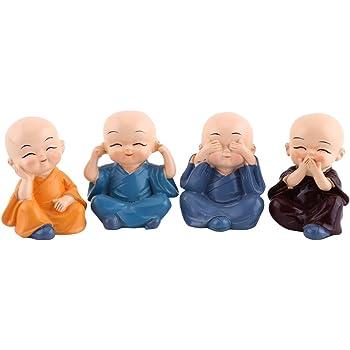 Adornos artesanales de resina KSTEE Cuatro peque/ños monjes de Buda Estatuilla automotriz Decoraci/ón for el hogar Decoraci/ón de cuatro monjes