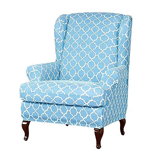 Fundas para sillas, 2 piezas, para sillón de orejas elásticas, tela de licra lavable, protector de muebles para sofá, para sillones, sillas, sala de estar, dormitorio, hotel, color sólido (azul cielo