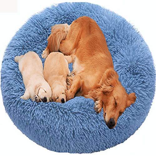 HANHAN Comfort Donut Dog Bed Wicker Jumbo Cushion Orthopedic Calming Sofa Extra Large XXL Anti Anxiety Cave xl Labrador Plush Medium Mattress xxxl Washable Cuddler blue