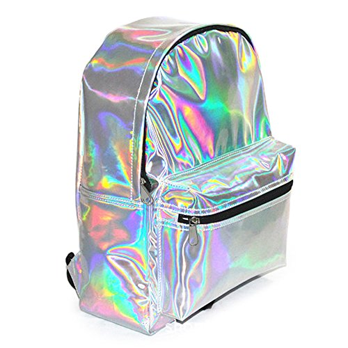 Zicac Girl's Sliver Holographic Laser Leather Backpack Travel Casual Daypack (Silver)