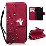 Mavis's Diary iPhone 55S Case/iPhone SE Solid 3D Pattern Butterfly Vine Print PU Leather Wallet Case Scratch Phone Case Cover Stand Magnetic Closure Phone Case Cover Solide Rote