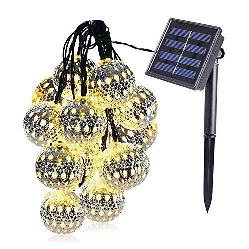 Popertr Silber Eisen-Kugel-Solarschnur beleuchtet im Freienwasserdichte Garden Villa Landschaft Lichterketten Traube Rack-hängende Lichter Kreative Feiertags-Party-Dekoration Fee-Schnur-Licht
