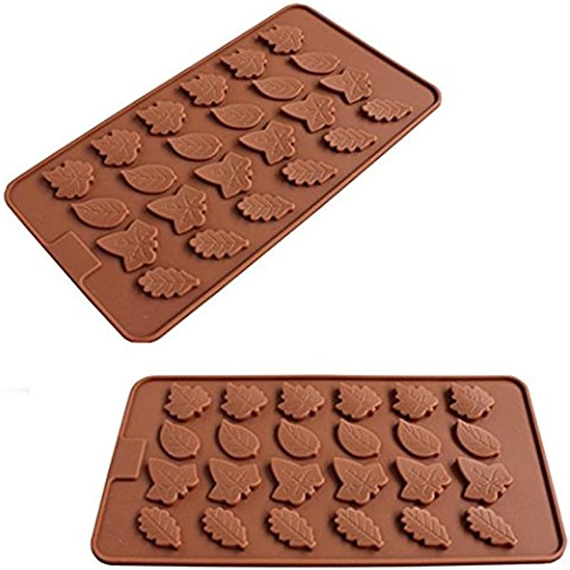 2 Pack 24 Cavity Maple Leaves Ice Cube Tray Fondant Silicone Pie Crust Mold Sugar Chocolate Mold Candy Molds