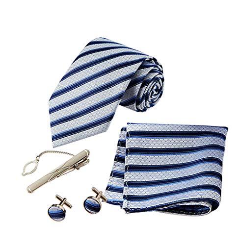 zhxinashu 4er Pack Herren Krawatten Set - Streifen Krawatte Twill Taschentuch Manschettenknöpfe Metall Krawattennadel Abend Party Smoking Zubehör Box Verpackung Blau
