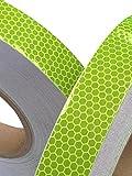 Tuqiang®, Nastro adesivo riflettente ad alta intensità, 25 mm x 2,5 m, colore limetta