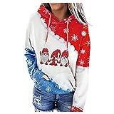 kelei Suéter de cuello redondo con estampado de Navidad para mujer, color casual, empalme suelto con chaqueta de sombrero, #9 Azul, L