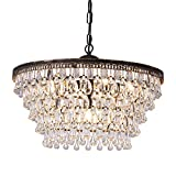 Wellmet Crystal Chandeliers, 6 Lights 5 Tiers Crystal Light, Adjustable Ceiling Light, Modern Chandelier Lighting Fixture for Bedroom, Hallway, Bar, Kitchen, Bathroom, Antique Bronze, W20-inch