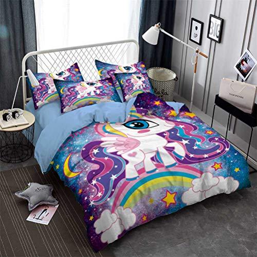 LanS 2020 Rosa Púrpura Unicornio Ropa de Cama - Funda nórdica y Funda de Almohada, Conjunto 3/4 Piezas (Funda nórdica + 2 Fundas de Almohada + Sábana) Salud/Suave/Sin alergia (D,King-4PCS-220x230cm)