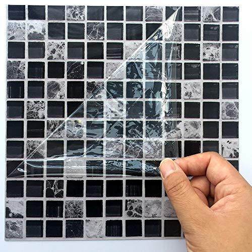 Leileixiao Adhesivo creativo de mosaico negro para azulejos de cocina, baño, decoración de suelo, decoración de pared, impermeable, PVC, (color: negro, tamaño: 30 cm, 10 unidades)