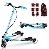 WOOKRAYS Y Flicker Scooter, Swing Wiggle Scooter 3 Wheels Kids Drifting Scooter with LED Lights, Foldable & Height-Adjustable Scooter for Boys and Girls Age 5+ Years