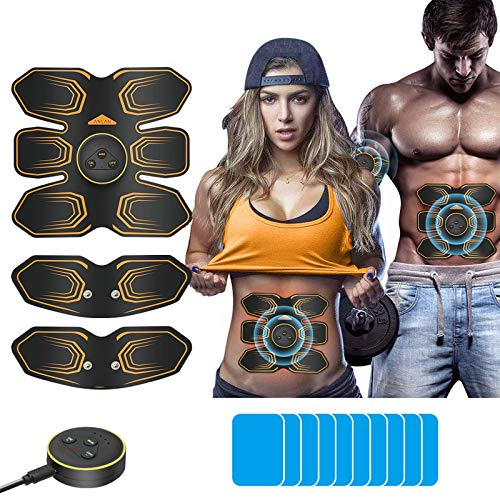 ANLAN EMS Muscle Stimulator, Abs Trainer Abdominal Muscle Toner Electronic Toning Belts Workout Home Fitness Device with USB Rechargeable 10 Replacement Gel Pads for Abdomen Arm Leg
