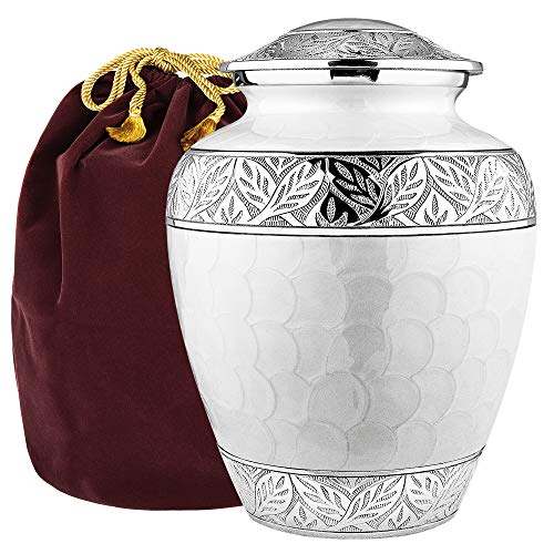 Silver Linings White Adult Large Urn for Human Ashes