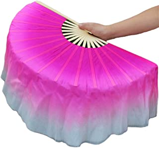"Nimiman Women Real Silk 1 Pair 40cm(15.7"") Colorful Belly Dancing Silk Bamboo Veils Dance Short Fan Veil Gradient Color"