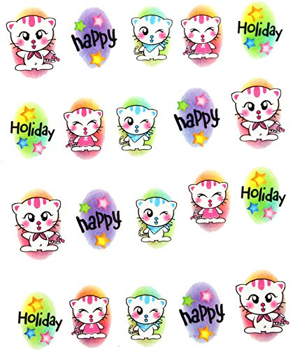 AWS Lot de stickers Water Decals pour décoration d'ongles, motif chaton, inscription « Happy Holiday » - Blanc