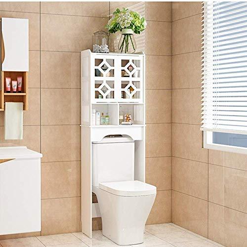 KAIBINY Los estantes del cuarto de baño libre que se coloca sobre la taza del baño for ahorrar espacio Gabinete de baño Organizador de almacenamiento de baño Gabinete con dos puerta for el hogar carri