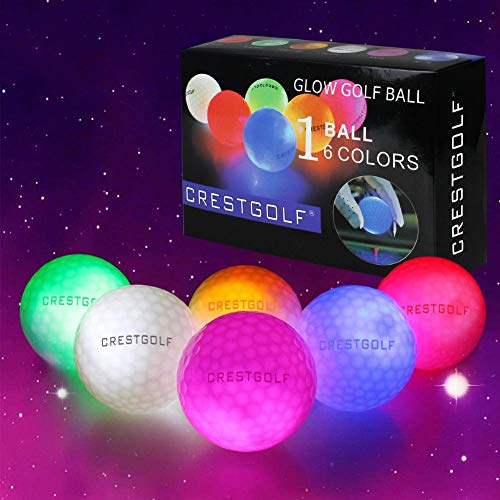 Crestgolf Flashing Glowing Golf Ball,Night Glow Flash Light up LED Golf Ball,six Color for Your Choice(Mixed Color,6pcs)