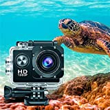 Action Camera 4K 1080P 12MP EIS Sports Action Camera PC Webcam 30m/98ft Underwater Waterproof DV Camcorder with Accessories Kit