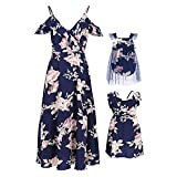 PopReal Mommy and Me Dresses Floral Print Fly Sleeve Strap Backless Ruffle Beach Mini Sundress Dark Blue