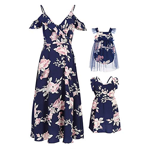 PopReal Mommy and Me Dresses Floral Print Cold Shoulder Ruffle Backless Strap Beach Midi Dress Summer Dark Blue