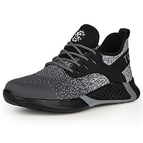 TQGOLD Zapatos de Seguridad para Hombre Mujer S3 Ligeros Comodos Zapatos de Trabajo(Gris,Tamaño 44)