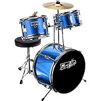 Música callejón de 3 piezas del juego de batería para los niños junior con platillos, pedal, Heces y palos - azul metálico