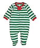 elowel | Pijama Unisexo | Ropa De Dormir De Lana Caliente| 1 Pieza | Pijama De Pie | Cálido Y Tierno | 100% Poliéster | Tamaño: 4 Años (104) | Colro: Rayas Verde-Blancas