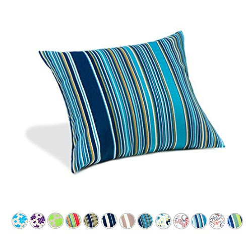 Gardenista Garden Outdoor Pattern Cushion | Hollowfibre Hypoallergenic Filled | Patio Rattan Chair Patterned Furniture Pillow | Water Resistant | 18' Size (Oasis Multi stripe)