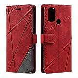 Hülle für Oppo A53 2020 / Oppo A32, SONWO Premium Leder PU Handyhülle Flip Hülle Wallet Silikon Bumper Schutzhülle Klapphülle für Oppo A53 2020 / Oppo A32, Rot
