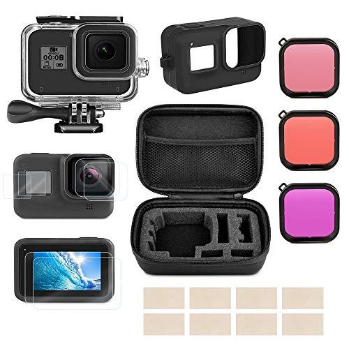 Linghuang Kit de Accesorios para GoPro Hero 8 Black Funda Impermeable+Película Protectora de Pantalla de...