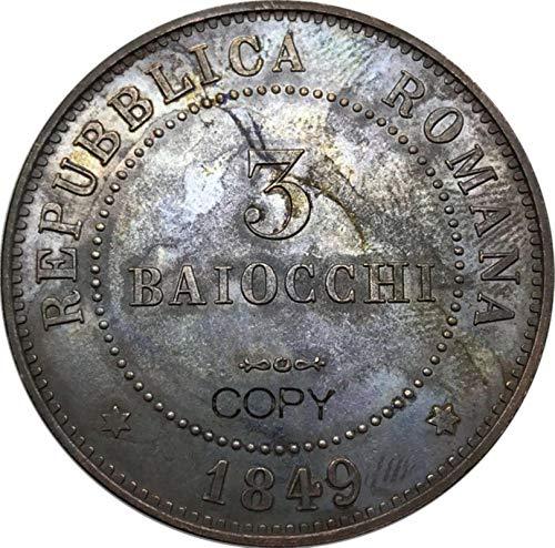 Eeng Stati Italiani Repubblica Romana 3Moneta Commemorativa Copia Rame Rosso 1849 Monete