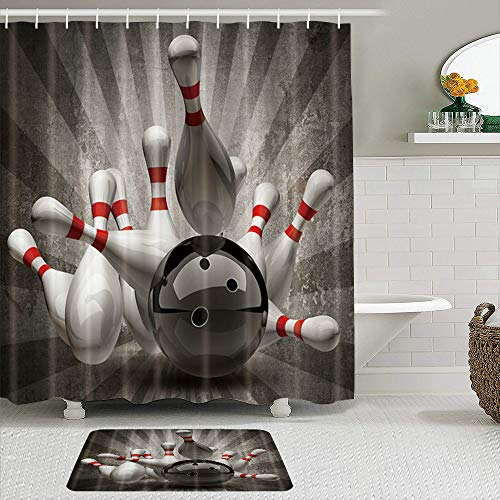JOSENI 2-teiliges Duschvorhangset mit Rutschfester Badematte,Sportthema Bowlingkugel Bowling Pins niedergeschlagen,12 Haken,Personalisierte Badezimmerdekoration