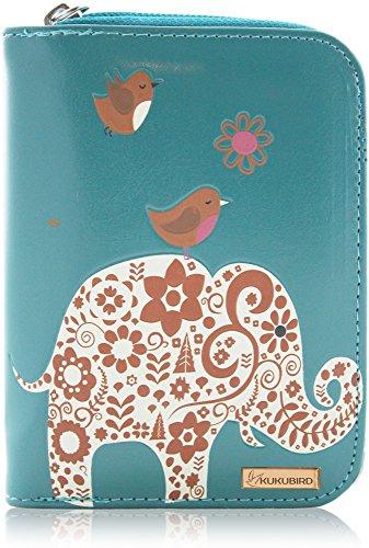 kukubird RF13DELE Elefant & zwei Nightjars, mittelgroß, für Damen, Kupplungshand, Blau - blau - Größe: M