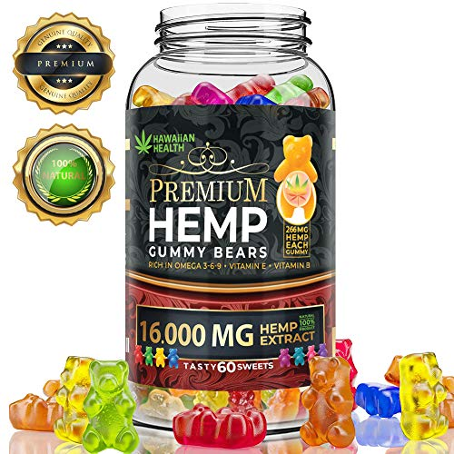 Hemp Gummies Premium 16000 mg High Potency - Fruity Gummy Bear with Hemp Oil | Natural Hemp Candy Supplements for Pain, Anxiety, Stress & Inflammation Relief | Promotes Sleep & Calm Mooв