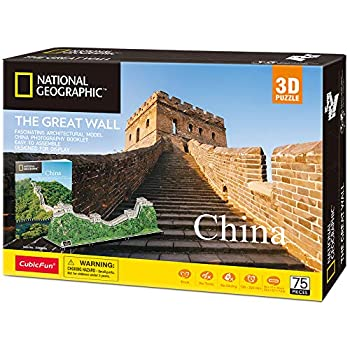 CubicFun National Geographic 3D Puzzles for Adults and Kids The Great Wall of China Model Kits Birthday Gifts for Women and Men World Heritage Site with Booklet 75 Pieces