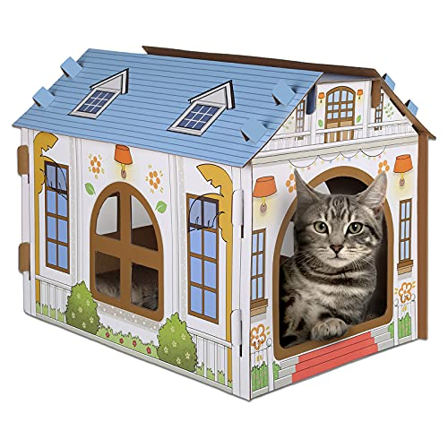 SEKAM Cardboard Cat House with Scratcher/Catnip, (16.5''L x 12''W x 13''H) Cat Play House for Indoor...
