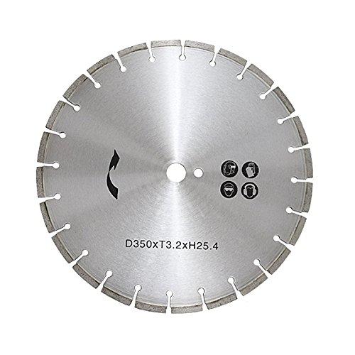 コンクリートカッター用ダイヤモンドブレード 単品 1枚 外径約357mm 14インチ 内径約25.4mm 穴径約25.4mm 刃厚約3mm ブレード コンクリートカッター アスファルトカッター 舗装カッター ダイヤモンドカッター 切断 道路 替え刃 替刃