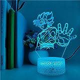 Lámpara De Ilusión 3D Luz De Noche Led Wukong Figura Anime Lámpara De Mesa Habitación Decoración De Hotel Regalo Niños Cumpleaños Niños Ventiladores Festival